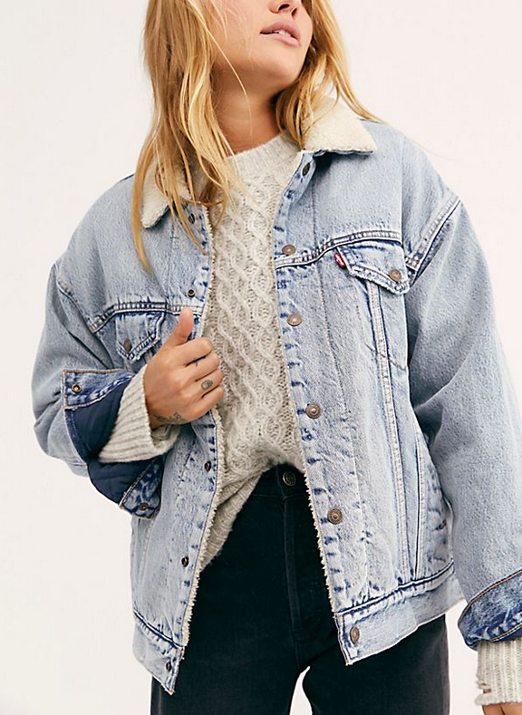Free People Dad Sherpa Trucker Jacket