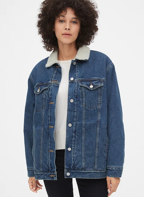 Gap Sherpa-Lined Oversized Icon Denim Jacket