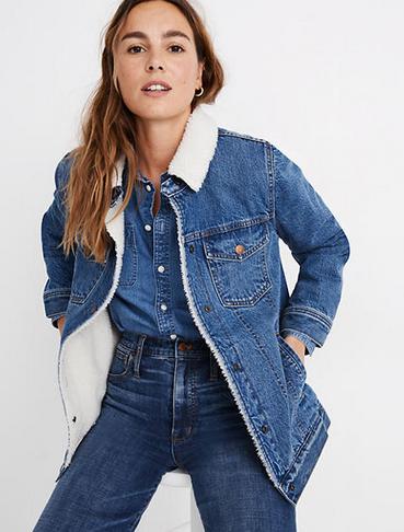 Madewell Oversized Jean Jacket Sherpa Edition