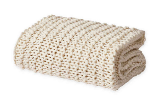 Oscar Oliver Luca Chunky Knit Throw Blanket in Ivory