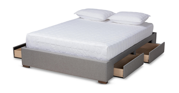 Baxton Studio Leni Gray Platform Bed with Storage
