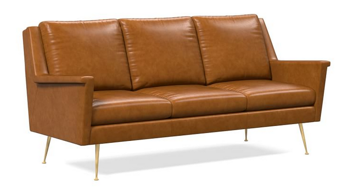 Carlo Leather Mid-Century Sofa