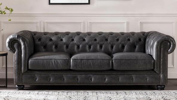 Copper Grove Chipata Chesterfield Italian Leather Sofa