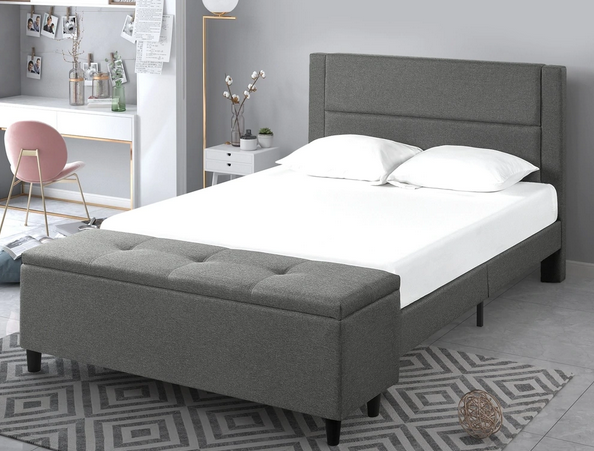 Copper Grove Krolevets Upholstered Platform Bed with Ottoman