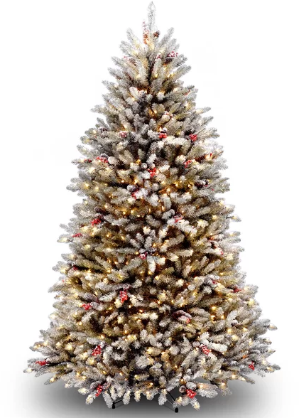 Dunhill Fir Green:White Christmas Tree with Clear White Lights