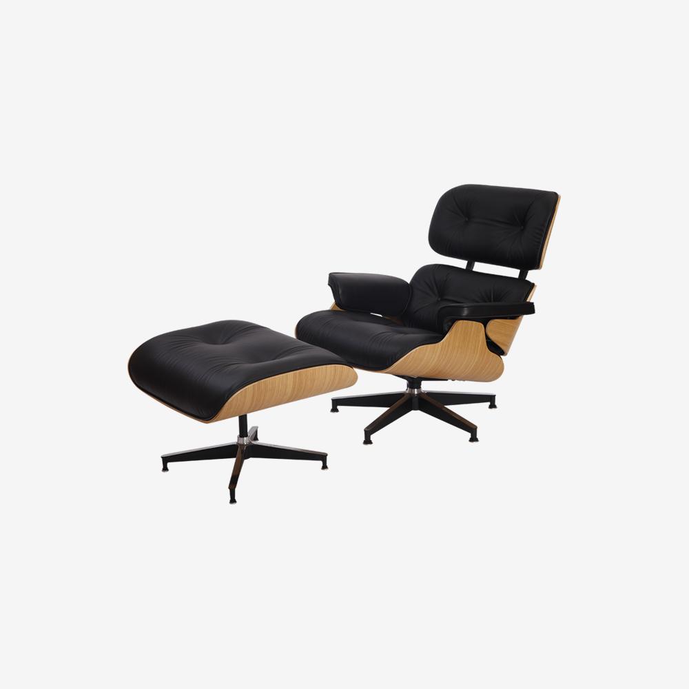 Emma Lounge Chair and Ottoman – Black Natural Oak