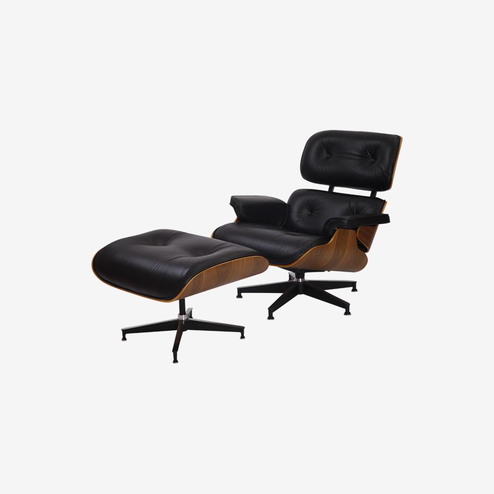 Emma Lounge Chair and Ottoman – Black Walnut
