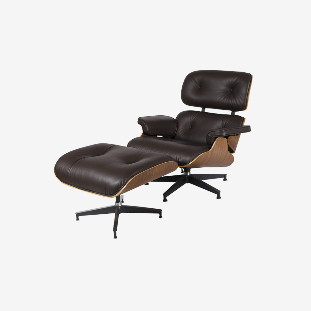 Emma Lounge Chair and Ottoman – Brown Walnut