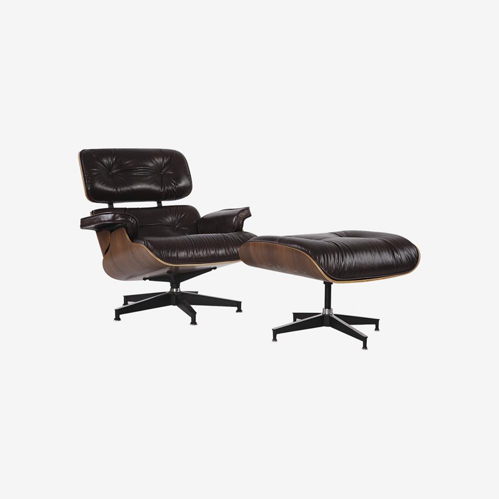 Emma Lounge Chair and Ottoman – Vintage Brown Walnut