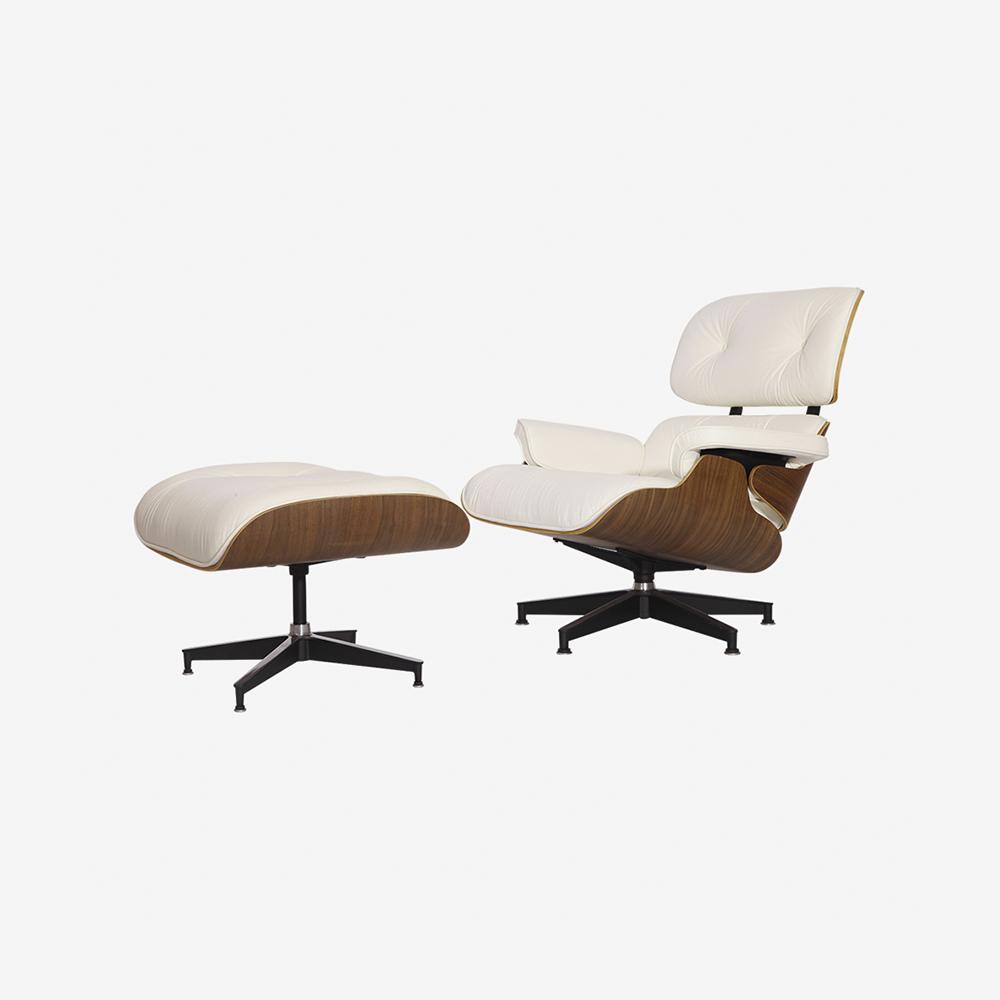 Emma Lounge Chair and Ottoman – White Walnut