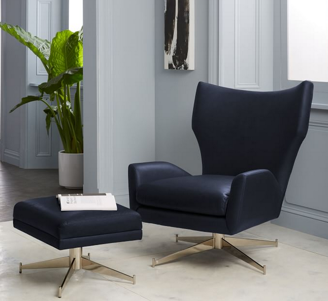 Hemming Leather Swivel Arm Chair