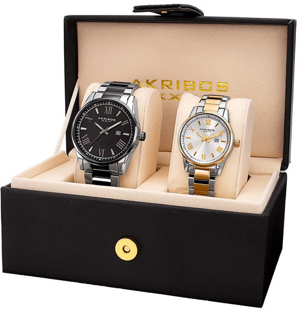 His & Hers Quartz Two-Tone Stainless Steel Bracelet Watch Set