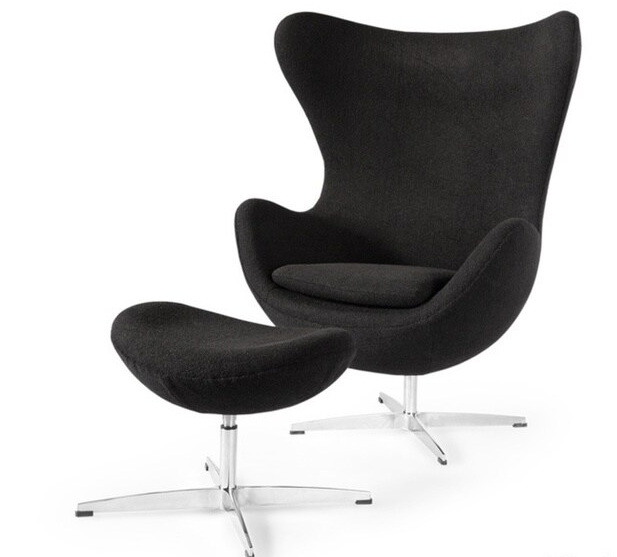 Kardiel Amoeba Cashmere Chair and Ottoman