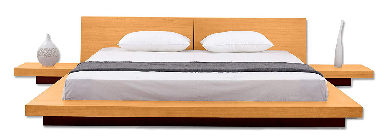 Matisse Fujian Modern Oak Platform Bed + 2 Night Stands