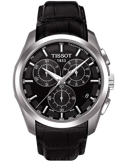 Men's Couturier Black Leather Swiss Quartz Watch