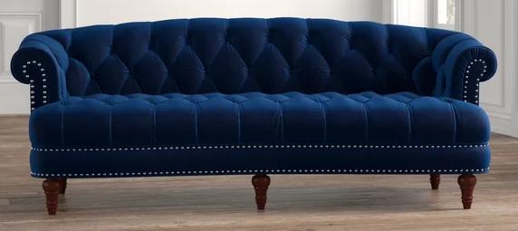 Mercer Velvet Nailhead Trim Rolled Arm Sofa