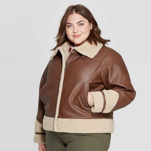 Plus Size Sherpa Moto Jacket