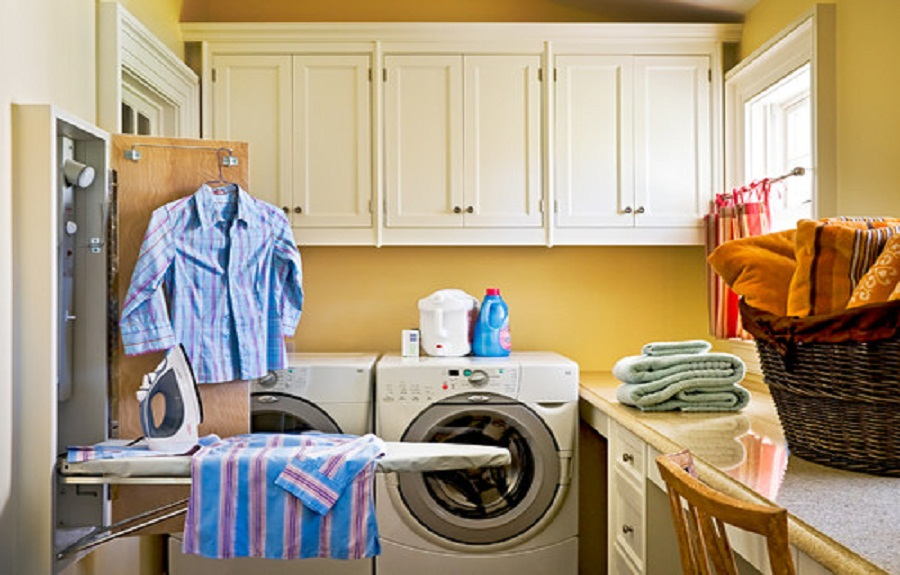 Pull-Down-Wall-Mounted-Ironing-Board-Cabinet-in-Laundry-Room
