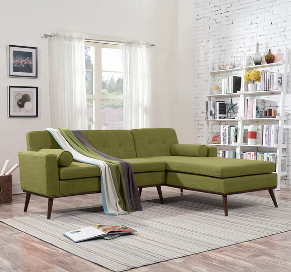 Stormi Mid Century Modern 2-Piece Sectional Sofa and Lounge Set by Christopher Knight Home
