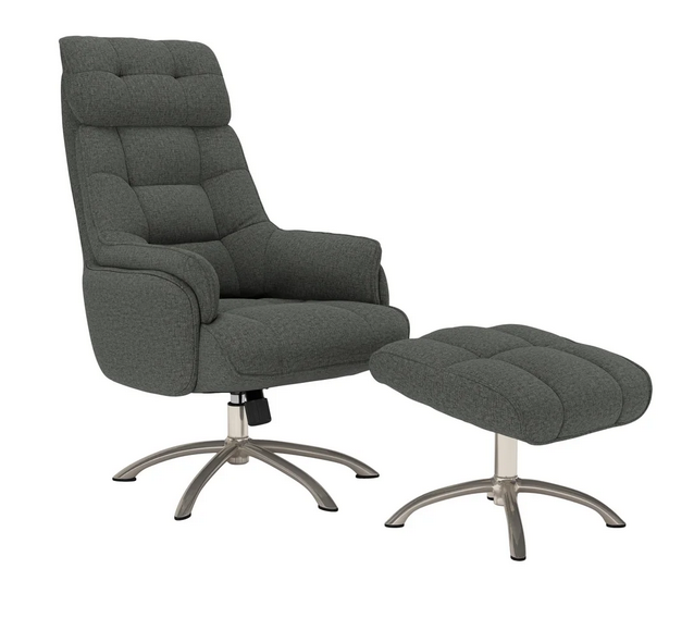 Strick & Bolton Edward Contemporary Swivel Rocker Chair and Ottoman