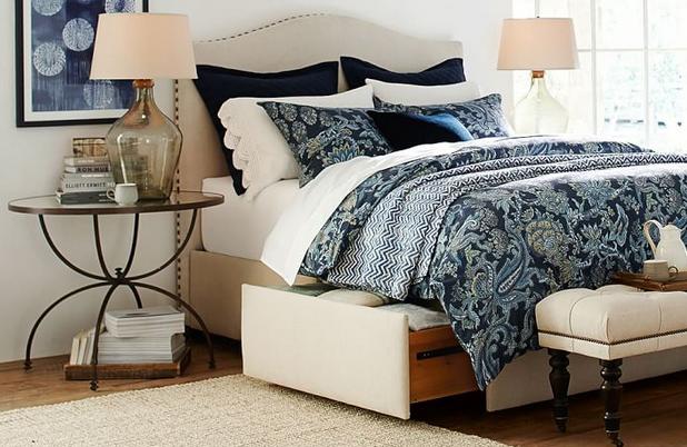 Upholstered Storage Platform Bed with Side Drawers
