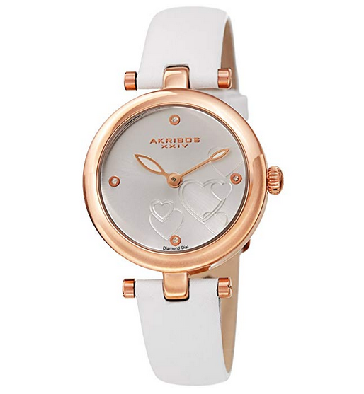 Women's Heart Engraved Dial Leather